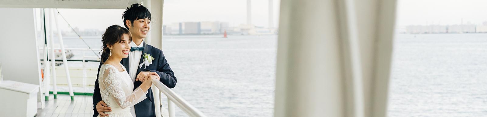 船上結婚式での新婦とご両親